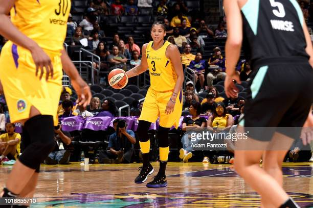 Candace Parker of the Los Angeles Sparks handles the ball during the game against the New York Liberty on August 14 2018 at Staples Center in Los...