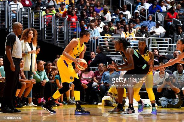 Candace Parker of the Los Angeles Sparks handles the ball during the game /NY on August 14 2018 at Staples Center in Los Angeles California NOTE TO...