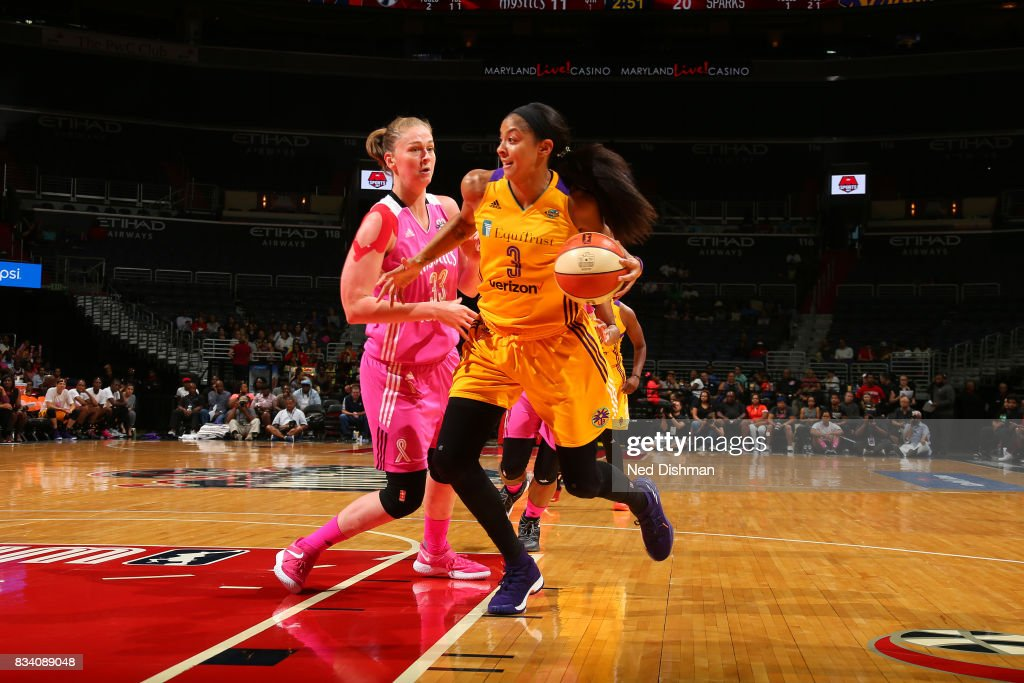 Candace Parker #3 of the Los Angeles Sparks handles the ball during the game against the Washington Mystics on August 16, 2017 at the Verizon Center in Washington, DC.