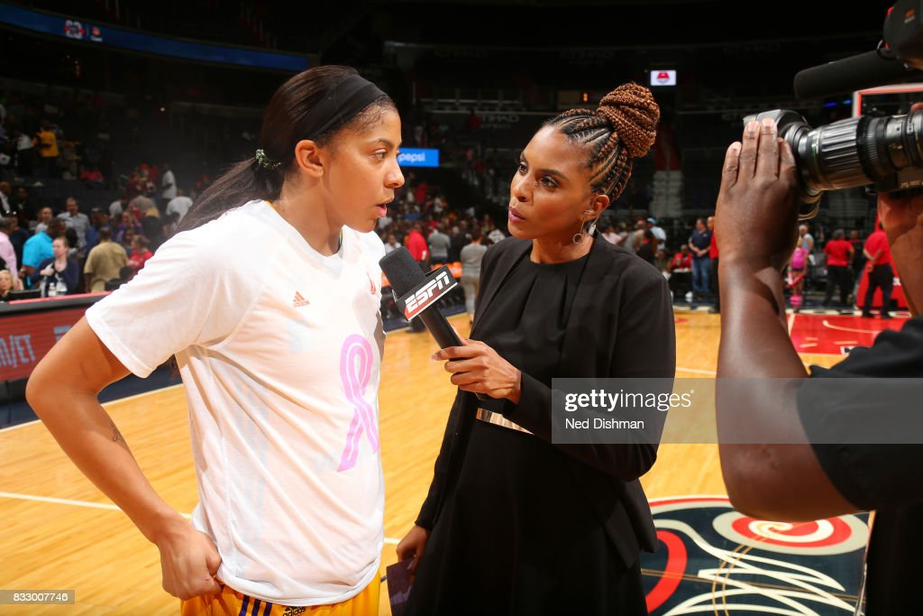 Candace Parker #3 of the Los Angeles Sparks is interviewed after the game against the Washington Mystics on August 16, 2017 at the Verizon Center in Washington, DC.