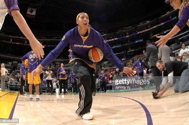Candace Parker of the Los Angeles Sparks is introduced before a game against the Atlanta Dream on September 11 2008 at Staples Center in Los Angeles...