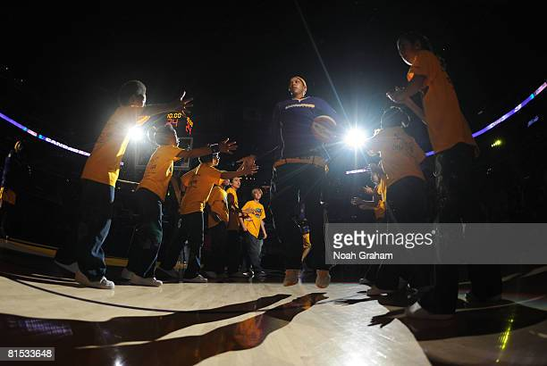 Candace Parker of the Los Angeles Sparks is introduced before taking on the Detroit Shock at Staples Center on June 11 2008 in Los Angeles California...