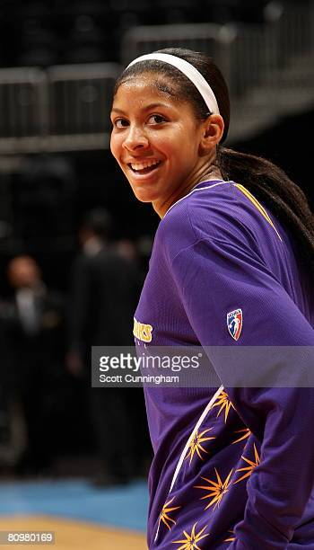Candace Parker of the Los Angeles Sparks is introduced before the game against the Atlanta Dream at Philips Arena on May 3 2008 in Atlanta Georgia...