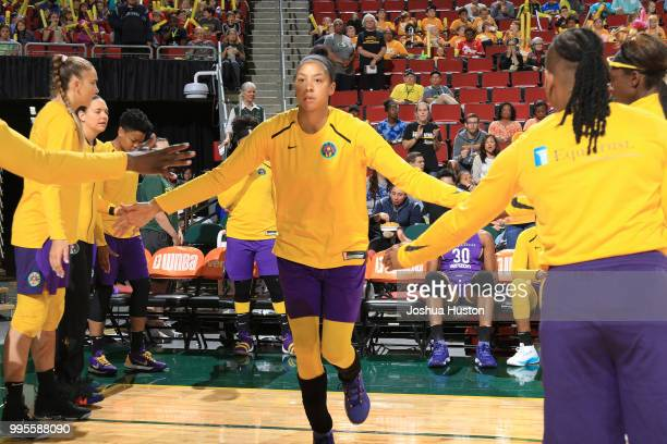 Candace Parker of the Los Angeles Sparks is introduced before the game against the Seattle Storm on July 10 2018 at Key Arena in Seattle Washington...
