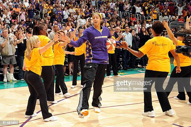 Candace Parker of the Los Angeles Sparks is introduced during the Sparks home opener against the Phoenix Mercury on June 6 2008 at Staples Center in...