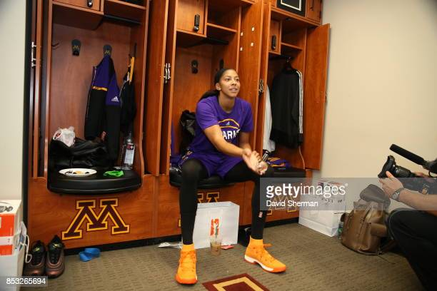 Candace Parker of the Los Angeles Sparks is seen in the locker room before the game against the Minnesota Lynx in Game One of the 2017 WNBA Finals on...