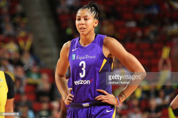 Candace Parker of the Los Angeles Sparks looks on during the game on June 28 2018 at Key Arena in Seattle Washington NOTE TO USER User expressly...