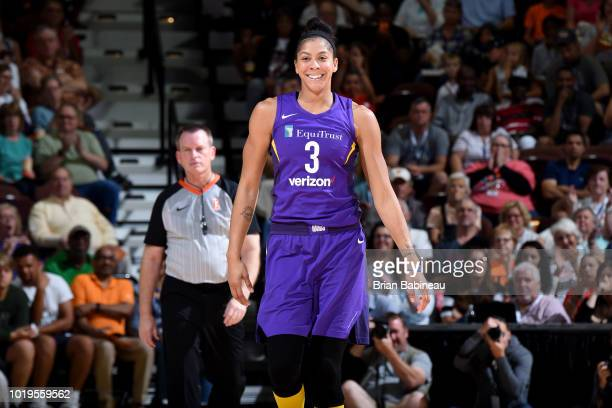 Candace Parker of the Los Angeles Sparks looks on during the game against the Connecticut Sun on August 19 2018 at the Mohegan Sun Arena in...