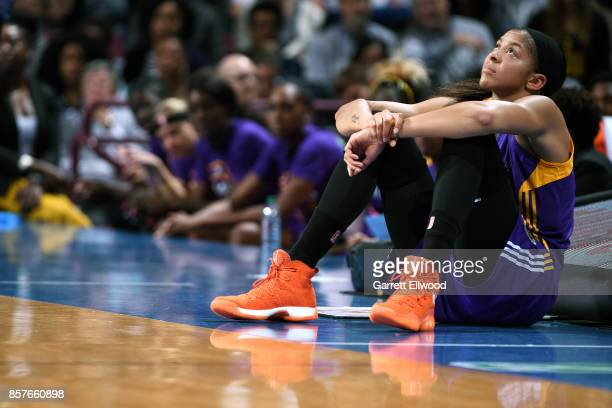 Candace Parker of the Los Angeles Sparks looks on during the game against the Minnesota Lynx in Game Five of the 2017 WNBA Finals on October 4 2017...