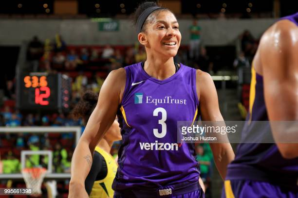 Candace Parker of the Los Angeles Sparks looks on during the game against the Seattle Storm on July 10 2018 at Key Arena in Seattle Washington NOTE...