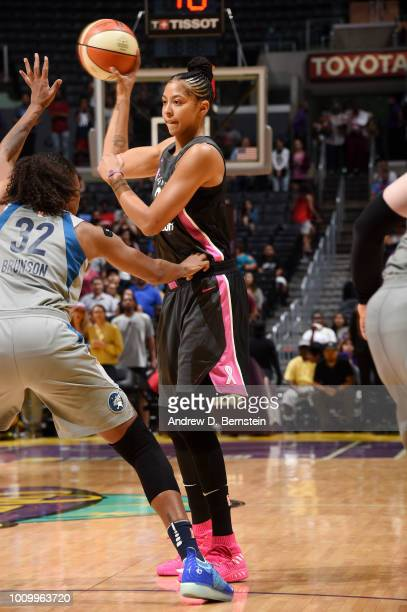 Candace Parker of the Los Angeles Sparks looks to pass against the Minnesota Lynx on August 2 2018 at STAPLES Center in Los Angeles California NOTE...