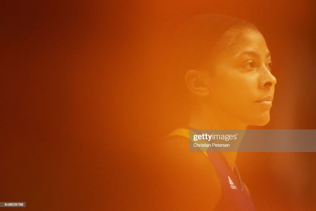 Candace Parker #3 of the Los Angeles Sparks looks to the bench during the second half of semifinal game three of the 2017 WNBA Playoffs against the Phoenix Mercury at Talking Stick Resort Arena on September 17, 2017 in Phoenix, Arizona. The Sparks defeated the Mercury 89-87.