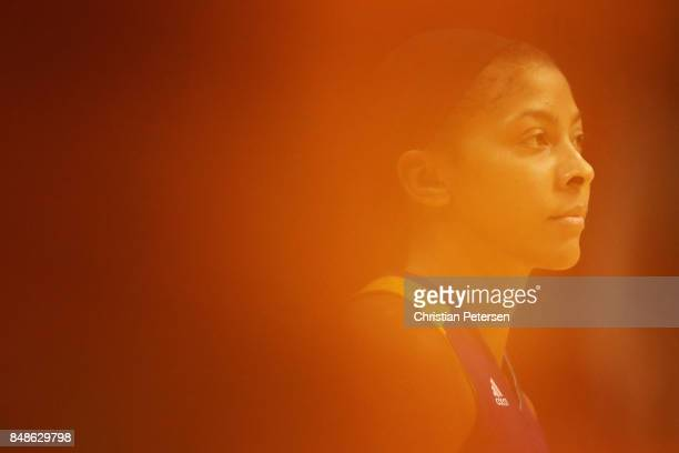 Candace Parker of the Los Angeles Sparks looks to the bench during the second half of semifinal game three of the 2017 WNBA Playoffs against the...
