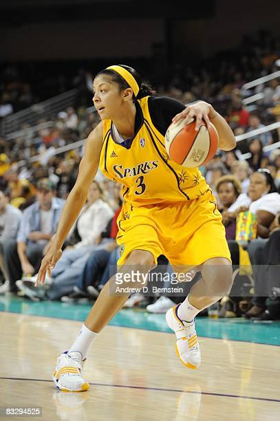 Candace Parker of the Los Angeles Sparks makes a move in Game One of the Wester n Conference Finals against the San Antonio Silver Stars during the...