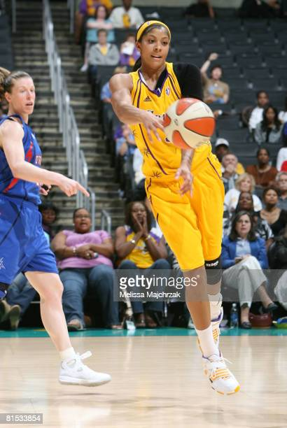 Candace Parker of the Los Angeles Sparks makes a pass against the Detroit Shock at Staples Center on June 11 2008 in Los Angeles California NOTE TO...