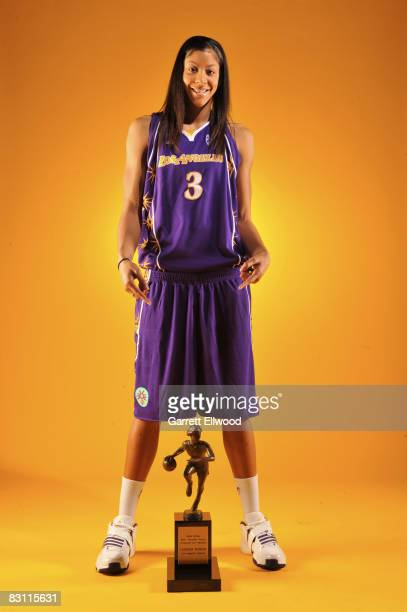 Candace Parker of the Los Angeles Sparks poses for a portrait with the Most Valuable Player Award present by TMobile prior to Game Two of the WNBA...