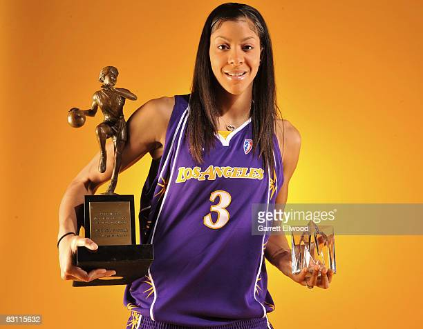 Candace Parker of the Los Angeles Sparks poses for a portrait with the Most Valuable Player Award present by T-Mobile and the Hanns-G 'Go Beyond'...