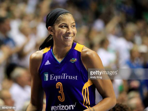 Candace Parker of the Los Angeles Sparks reacts after receiving her fourth foul against the Minnesota Lynx during the second quarter of Game One of...