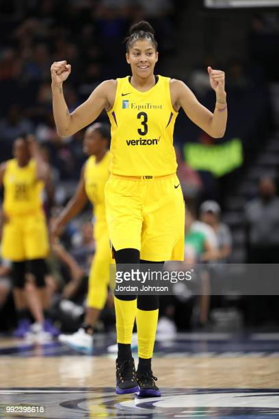 Candace Parker of the Los Angeles Sparks reacts during game against the Minnesota Lynx on July 5 2018 at Target Center in Minneapolis Minnesota NOTE...