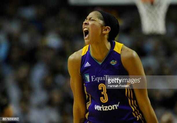 Candace Parker of the Los Angeles Sparks reacts to her teammate being fouled by the Minnesota Lynx during the second quarter of Game Five of the WNBA...