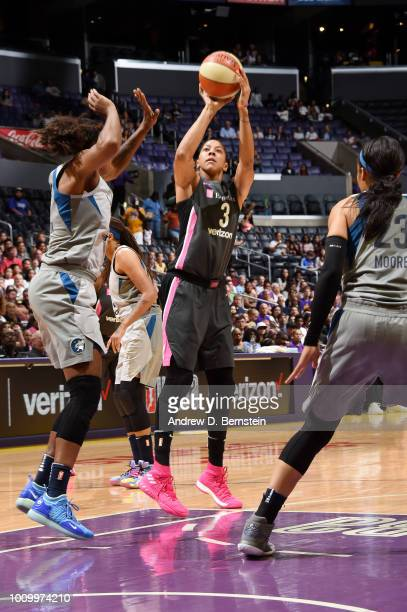 Candace Parker of the Los Angeles Sparks shoots the ball against the Minnesota Lynx on August 2 2018 at STAPLES Center in Los Angeles California NOTE...