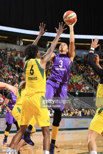 Candace Parker of the Los Angeles Sparks shoots the ball against the Seattle Storm on July 10 2018 at Key Arena in Seattle Washington NOTE TO USER...