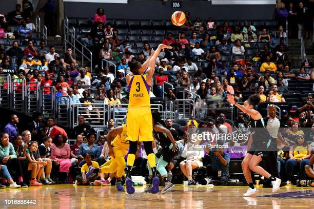 Candace Parker of the Los Angeles Sparks shoots the ball during the game against the New York Liberty on August 14 2018 at Staples Center in Los...