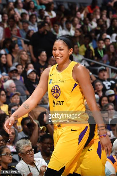 Candace Parker of the Los Angeles Sparks smiles during the game against the Chicago Sky on June 30 2019 at the Staples Center in Los Angeles...