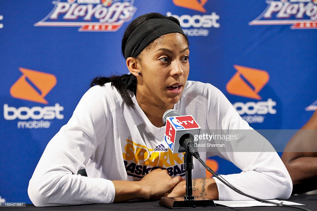 Candace Parker #3 of the Los Angeles Sparks speaks to the media after Game One of the 2012 WNBA Western Conference Finals against the Minnesota Lynx on October 4, 2012 at Target Center in Minneapolis, Minnesota.