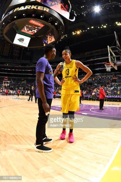 Candace Parker of the Los Angeles Sparks speaks with the media after the game against the Phoenix Mercury on August 5 2018 at The Staples Center in...