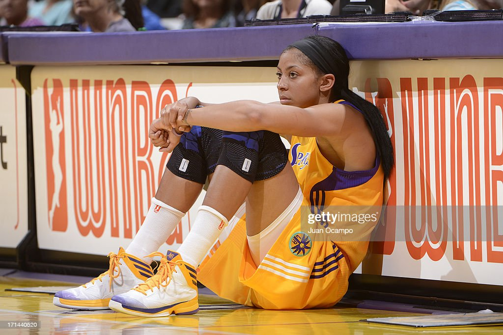 Candace Parker #3 of the Los Angeles Sparks waits to get in the game against the Washington Mystics at Staples Center on June 23, 2013 in Los Angeles, California.