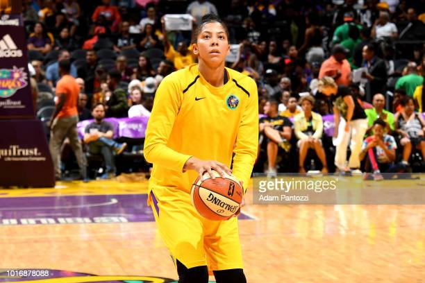 Candace Parker of the Los Angeles Sparks warms up before the game against the New York Liberty on August 14 2018 at Staples Center in Los Angeles...
