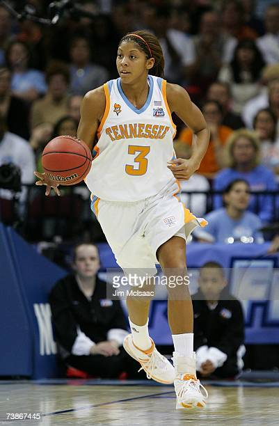 Candace Parker of the Tennessee Lady Volunteers brings the ball up court against North Carolina Tar Heels during their National Semifinal game of the...