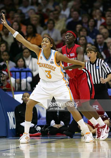 Candace Parker of the Tennessee Lady Volunteers calls for the ball in the post against Essence Carson of the Rutgers Scarlet Knights during the 2007...