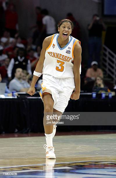 Candace Parker of the Tennessee Lady Volunteers celebrate Tennessee's 5946 win against the Rutgers Scarlet Knights to win the 2007 NCAA Women's...