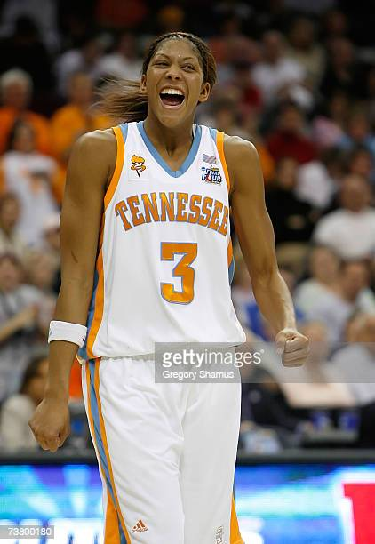 Candace Parker of the Tennessee Lady Volunteers celebrate their 5946 win against the Rutgers Scarlet Knights to win the 2007 NCAA Women's Basketball...