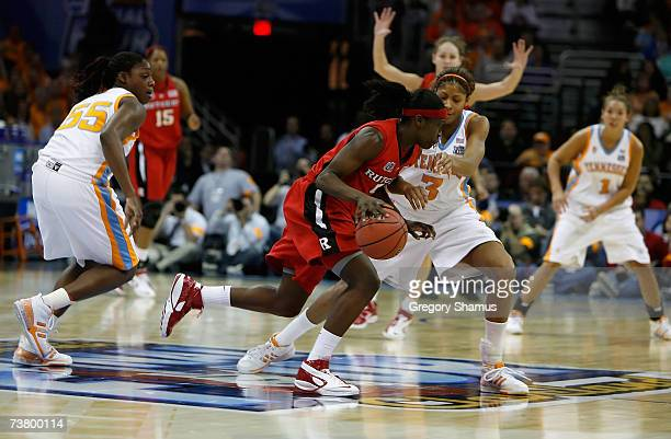 Candace Parker of the Tennessee Lady Volunteers defends against Essence Carson of the Rutgers Scarlet Knights during the 2007 NCAA Women's Basketball...