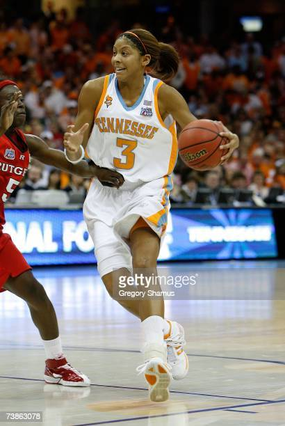 Candace Parker of the Tennessee Lady Volunteers drives against the Rutgers Scarlet Knights during the 2007 NCAA Women's Basketball Championship Game...