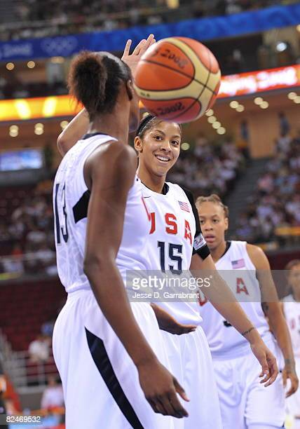 Candace Parker of the U.S. Women's Senior National Team celebrates against Korea during their quaterfinal women's basketball game on Day 11 of the...