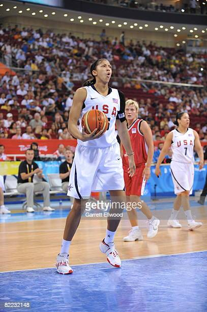 Candace Parker of the U.S. Women's Senior National Team reacts to a call against the Czech Republic during day one of basketball at the 2008 Beijing...