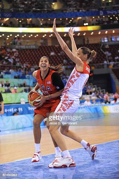 Candace Parker of the U.S. Women's Senior National Team shoots against Russia during the women's semifinals basketball game at the 2008 Beijing...