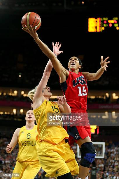 Candace Parker of United States drives for a shot attempt against Lauren Jackson of Australia during the Women's Basketball semifinal on Day 13 of...