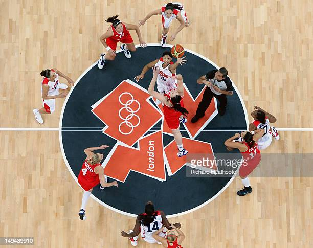Candace Parker of United States tips off against Luca Ivankovic of Croatia at the start of the game during Women's Basketball on Day 1 of the London...