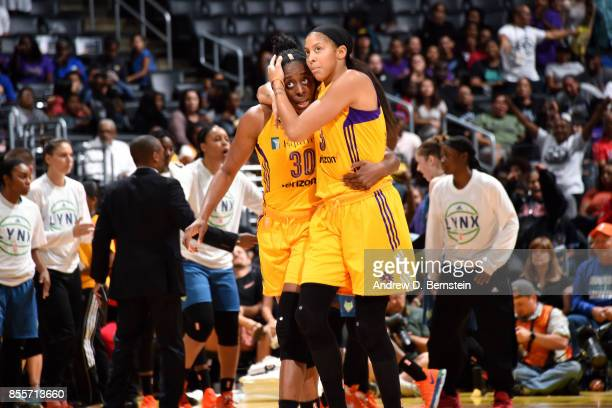 Candace Parker shares a hug with Nneka Ogwumike of the Los Angeles Sparks during the game against the Minnesota Lynx in Game Three of the 2017 WNBA...