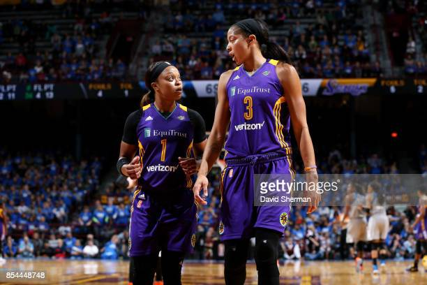 Candace Parker talks with Odyssey Sims of the Los Angeles Sparks during the game against the Minnesota Lynx in Game Two of the 2017 WNBA Finals on...