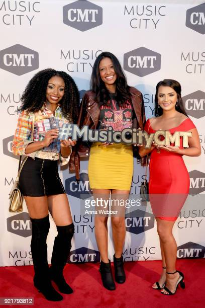 Candace Rice Alisa Fuller and Nilsa Prowant attend CMT's Music City premiere party on February 20 2018 in Nashville Tennessee