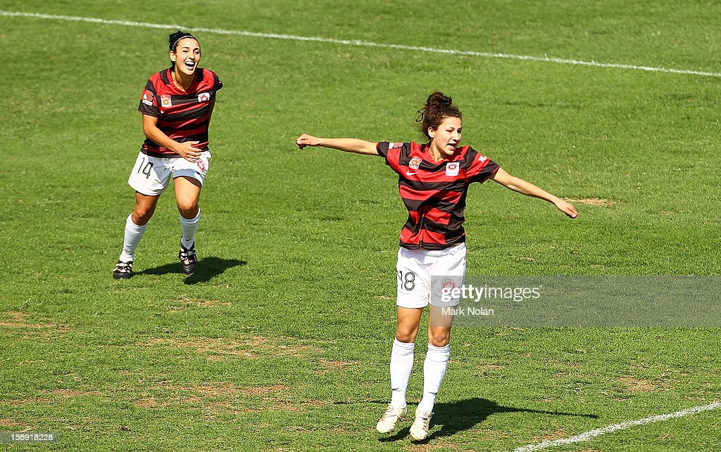 Candace Sciberras of the Wanderers celebrates after scoring during the round six W-League match between the Western Sydney Wanderers and the Newcastle Jets at Campbelltown Sports Stadium on November 25, 2012 in Sydney, Australia.