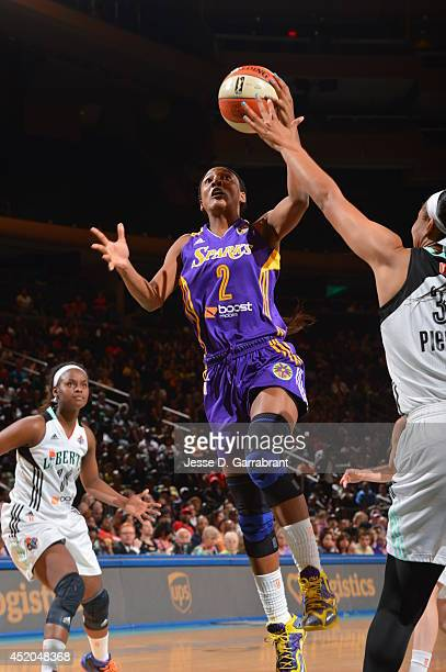 Candace Wiggins of the Los Angeles Sparks shoots against the New York Liberty during the game on July 11 2014 at Madison Square Garden in New York...