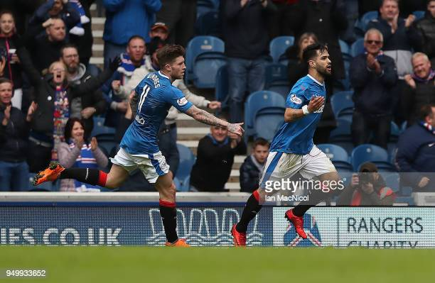 Candeias of Rangers celebrates after he scores his team's second goal during the Ladbrokes Scottish Premiership match between Rangers and Hearts at...