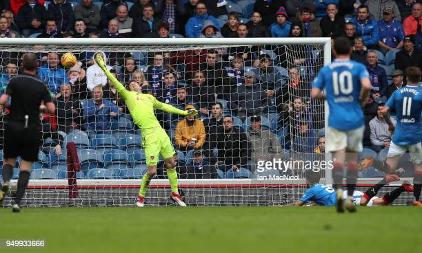 Candeias of Rangers scores his team's second goal during the Ladbrokes Scottish Premiership match between Rangers and Hearts at Ibrox Stadium on...